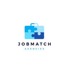 job search match briefcase puzzle logo icon vector image