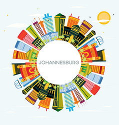 Johannesburg south africa city skyline with color vector