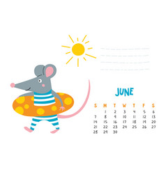 June calendar page with cute rat at beach vector