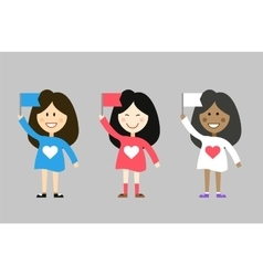 Kids with flags from different countries Asian vector
