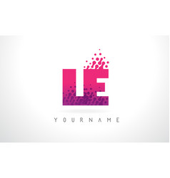 Le l e letter logo with pink purple color and vector