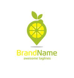 Lemon pin logo concept vector