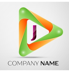 Letter J logo symbol in the colorful triangle on vector