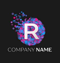letter r logo with blue purple pink particles vector image