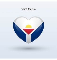 Love saint-martin symbol heart flag icon vector