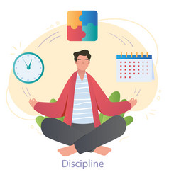 Mindful male character is sitting in lotus vector