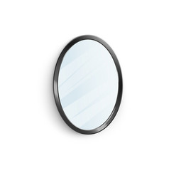 mirror in black oval frame with reflection 3d vector image