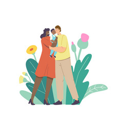 multiracial loving parents kiss bamother and vector image