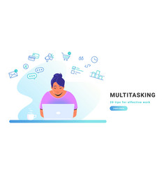 multitasking and working online with laptop flat vector image