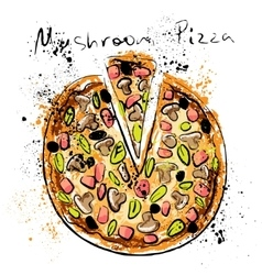 Mushroom pizza drawn in chalk on a blackboard vector image