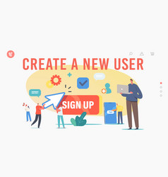 New user online registration and sign up landing vector