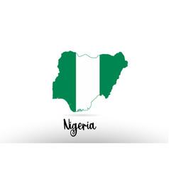 nigeria country flag inside map contour design vector image