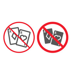 No gambling line and glyph icon prohibition vector