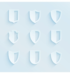 Paper style shield frames icons set vector