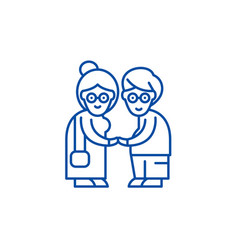 Pensioners line icon concept pensioners flat vector