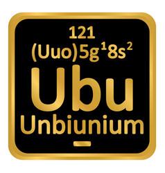 Periodic table element unbinilium icon vector