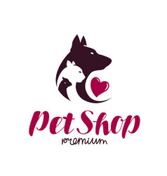 pet shop logo animal shelter dog cat parrot vector image