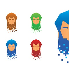 Pixel Beard Icons vector image