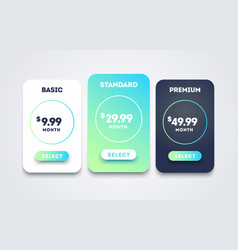 pricing table set design for business price plan vector image