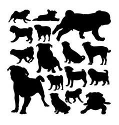 pug dog animal silhouettes vector image