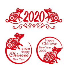 Rat new year 2020 signs vector