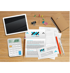 realistic office desk with different objects vector image