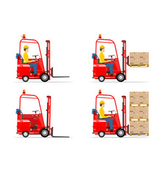 Red retro forklift vector