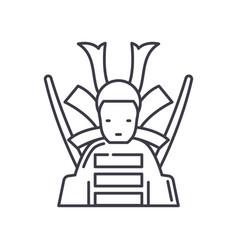 Samurai icon linear isolated thin vector