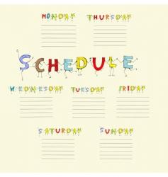 School schedule vector