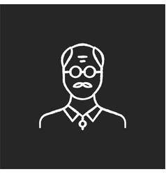 senior man chalk white icon on black background vector image