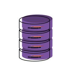 Server hosting storage in watercolor silhouette vector