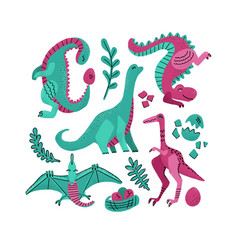 set 5 cute dinosaur color hand drawn vector image