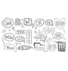 set hand drawn speech bubbles various shapes vector image