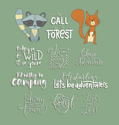 set of adventure outdoors animals icons vector image
