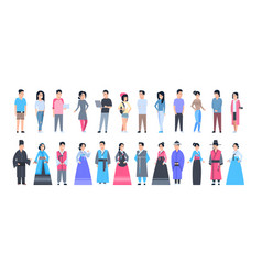 Set of asian people wearing traditional costumes vector