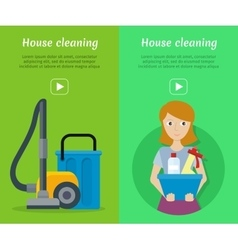 Set of Cleaning Service Flat Style Web Banners vector