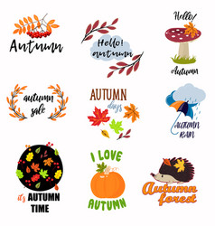 set of colorful juicy autumn badges with leaves vector image