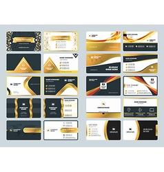 Set of creative golden business card design vector image
