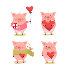 Set of cute cartoon valentines pigs with hearts vector