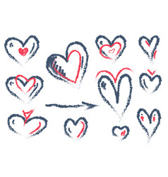 set of hand drawn heart isolated on white vector image