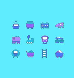 set simple line icons rail transport vector image