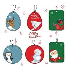 Set with different Christmas labels on white vector image