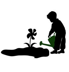 Silhouette of a child watering flowers vector