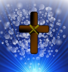 Simple brown wooden cross vector