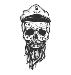 Skull with captain cap beard and mustache vector