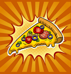 Slice of pizza pop art vector