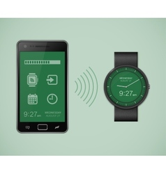 Smartwatch and smartphone communication vector