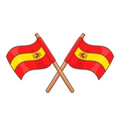 Spain crossed flag icon cartoon style vector image