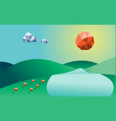 spring season low poly background mountain river vector image