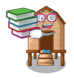 Student with book chicken in a wooden cartoon coop vector